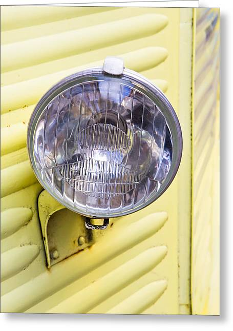 American Automobiles Photographs Greeting Cards - Headlight Greeting Card by Tom Gowanlock