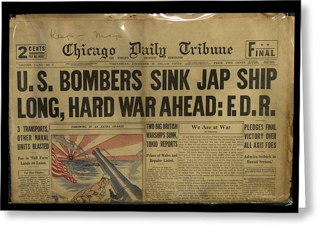 Historic Ship Greeting Cards - Headlines WW II Long Hard War Greeting Card by Thomas Woolworth