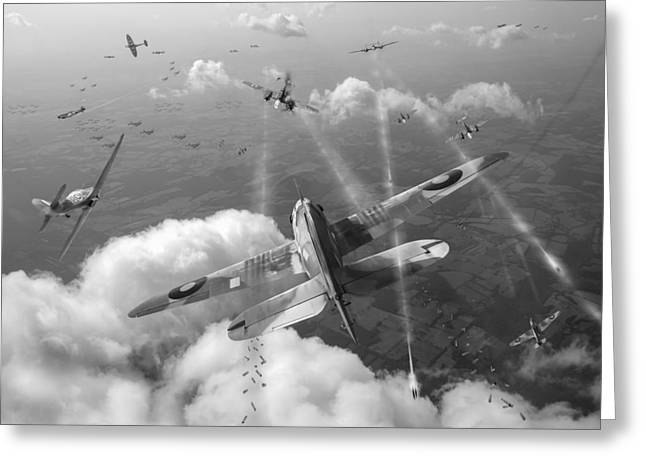 Headlong Attack Black And White Version Greeting Card by Gary Eason