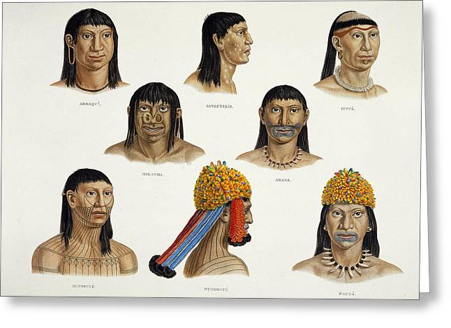 Nose Drawings Greeting Cards - Heads Of South American Indians Greeting Card by German School