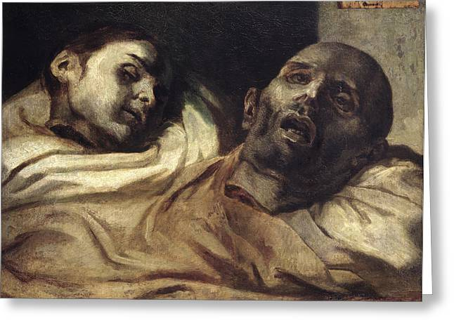 Romanticism Greeting Cards - Heads Of Torture Victims, Study For The Raft Of The Medusa Oil On Canvas Greeting Card by Theodore Gericault