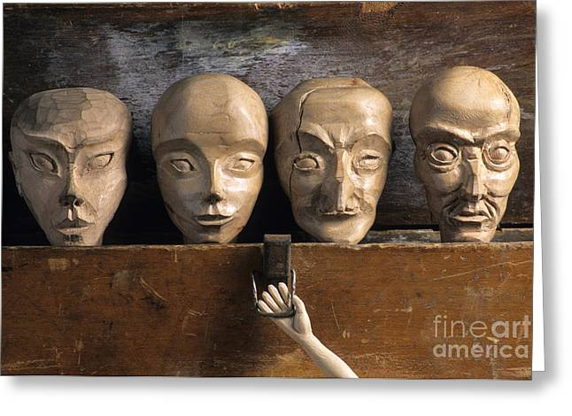 Craftsman Greeting Cards - Heads of wooden puppets Greeting Card by Bernard Jaubert