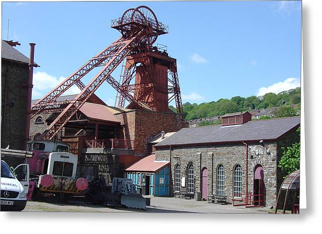 Coalmine Greeting Cards - Headstocks of a Welsh Coalmine Greeting Card by Ross Sharp
