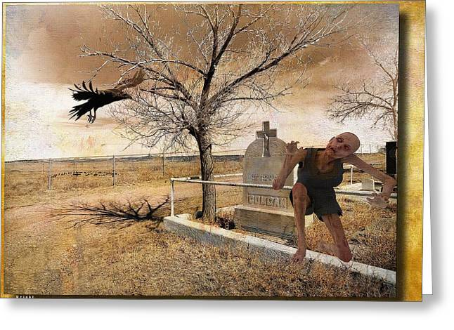 Grave Side Greeting Cards - Headstone - Out of the Grave  Greeting Card by L Wright