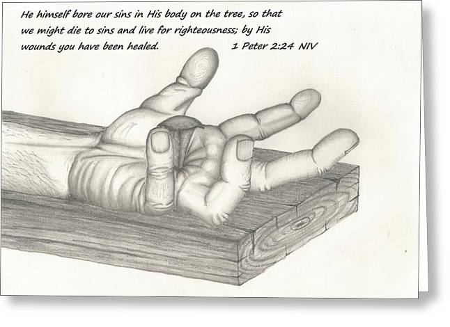 Religious work Drawings Greeting Cards - Healed Greeting Card by Alexander Davidson