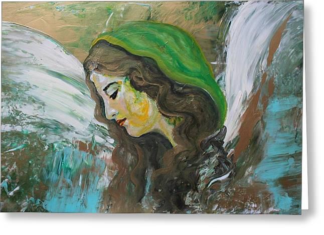Winged Goddess Mixed Media Greeting Cards - Healing Angel Greeting Card by Alma Yamazaki
