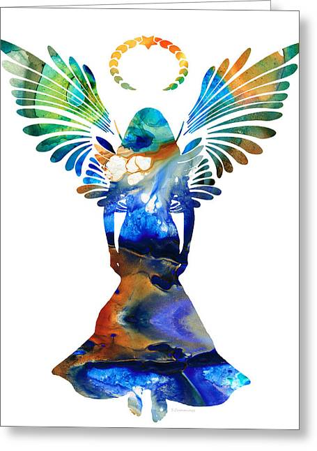 Religious Mixed Media Greeting Cards - Healing Angel - Spiritual Art Painting Greeting Card by Sharon Cummings