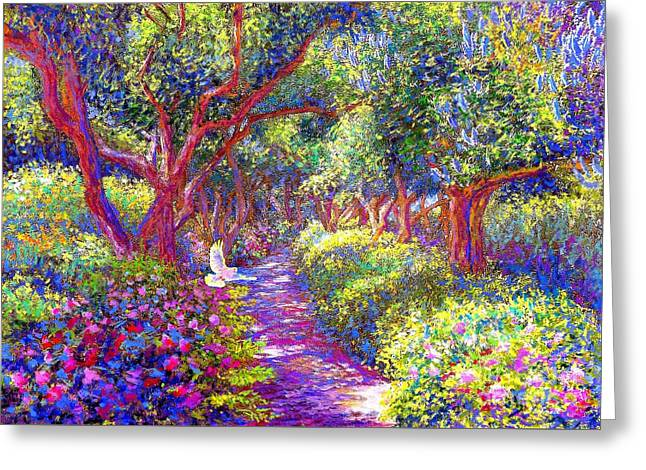 Calm Paintings Greeting Cards - Healing Garden Greeting Card by Jane Small