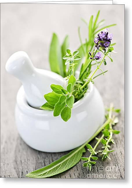 Organic Photographs Greeting Cards - Healing herbs in mortar and pestle Greeting Card by Elena Elisseeva