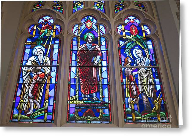 Schweitzer Greeting Cards - Healing Images in Stained Glass Greeting Card by Ann Horn