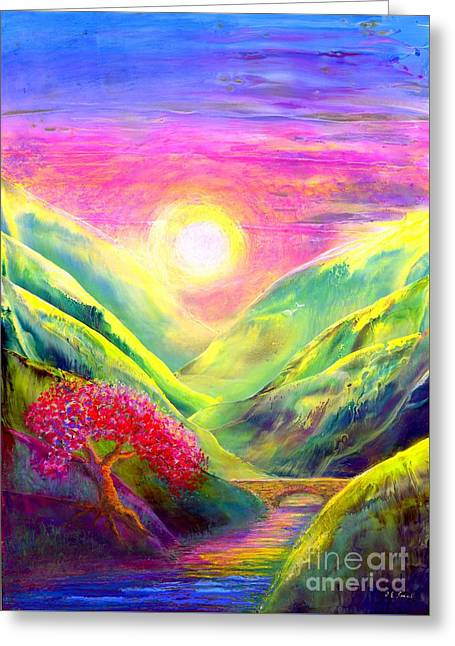 Surreal Fantasy Trees Landscape Greeting Cards - Healing Light Greeting Card by Jane Small