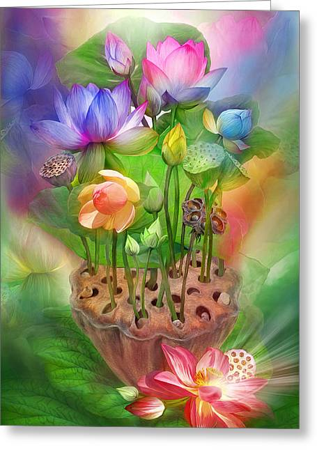 Healing Lotus - Chakras Greeting Card by Carol Cavalaris