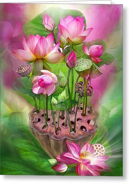 Pink Lotus Greeting Cards - Healing Lotus - Crown Greeting Card by Carol Cavalaris