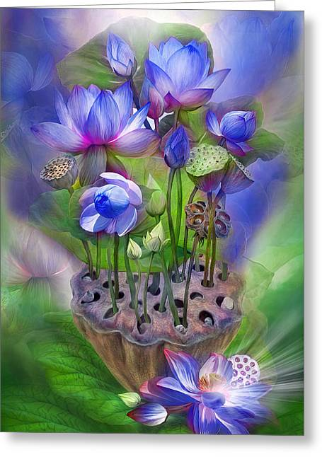Indigo Chakra Greeting Cards - Healing Lotus - Third Eye Greeting Card by Carol Cavalaris