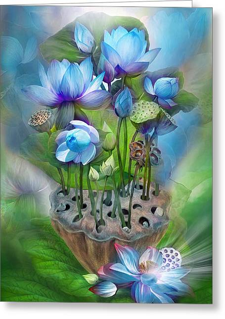 Healing Lotus - Throat Greeting Card by Carol Cavalaris