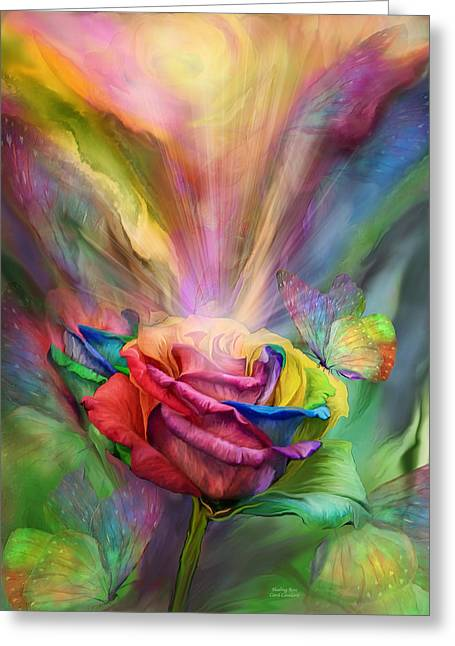 Chakra Rainbow Greeting Cards - Healing Rose Greeting Card by Carol Cavalaris