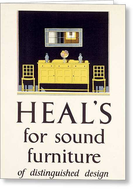 Distinguished Greeting Cards - Heals Sound Furniture Advertisement Greeting Card by