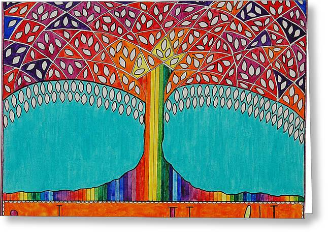 Choosing Mixed Media Greeting Cards - Health Tree Greeting Card by Felicity Kelly-Cruise