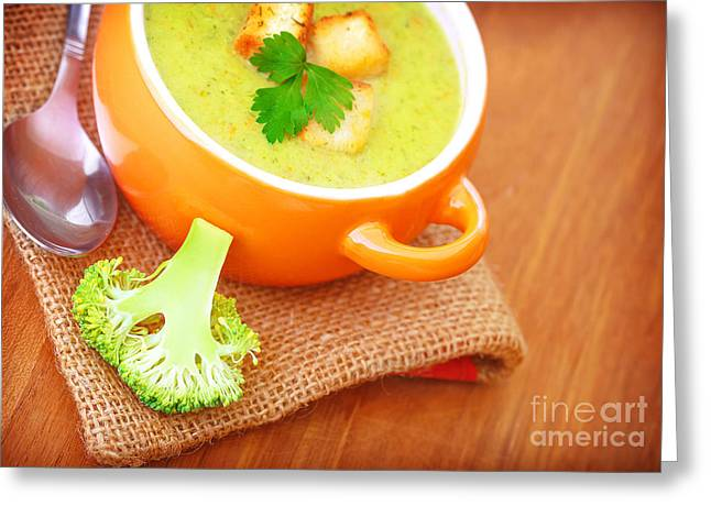 Wooden Bowl Greeting Cards - Healthy cream soup with broccoli Greeting Card by Anna Omelchenko