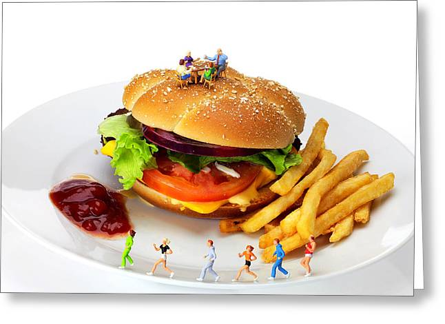 French Fries Greeting Cards - Healthy life versus foodie life miniature art Greeting Card by Paul Ge