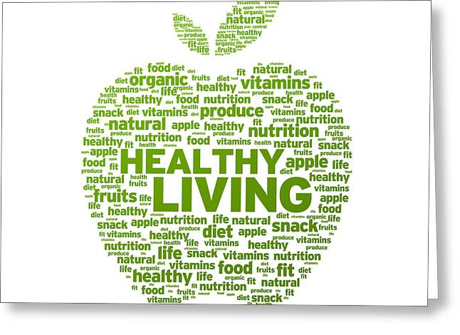 Healthy Greeting Cards - Healthy Living Apple Illustration Greeting Card by Aged Pixel