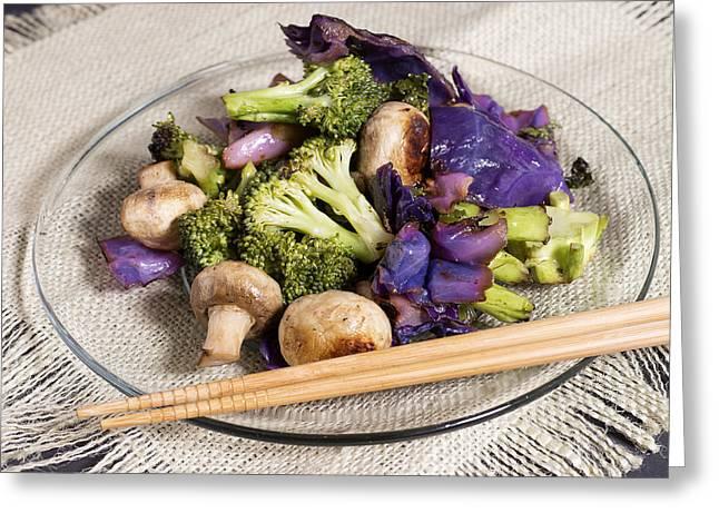 Broccoli Greeting Cards - Healthy Vegetarian Stir Fry Greeting Card by Donald  Erickson