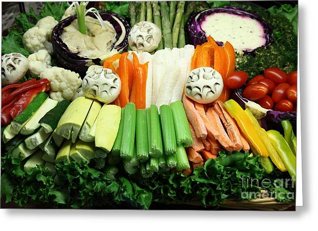 American Food Greeting Cards - Healthy Veggie Snack Platter - 5D20688 Greeting Card by Wingsdomain Art and Photography