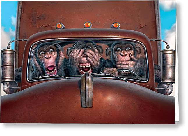 Chimpanzee Greeting Cards - Hear No Evil See No Evil Speak No Evil Greeting Card by Mark Fredrickson