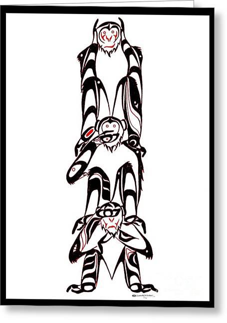 Speakthunder Berry Greeting Cards - Hear no Evil Speak no Evil See no Evil totem Greeting Card by Speakthunder Berry