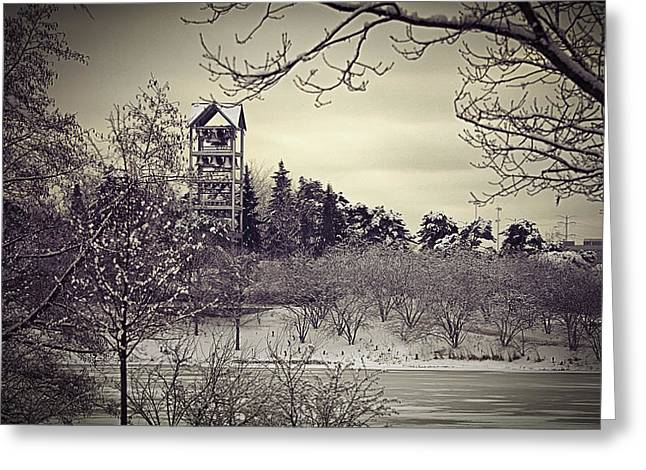 Garden Scene Digital Greeting Cards - Hear the Carillon Bells Greeting Card by Julie Palencia