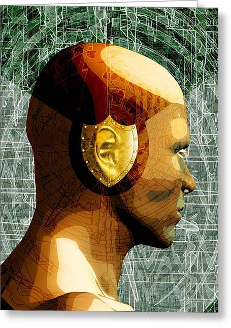 Earmuffs Greeting Cards - Hearing protection, conceptual artwork Greeting Card by Science Photo Library
