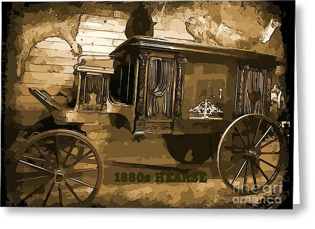 Old Western Photos Digital Art Greeting Cards - Hearse Poster Greeting Card by Crystal Loppie