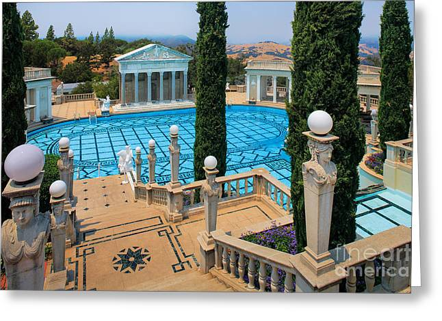 Opulence Greeting Cards - Hearst Castle Neptune Pool Greeting Card by Inge Johnsson