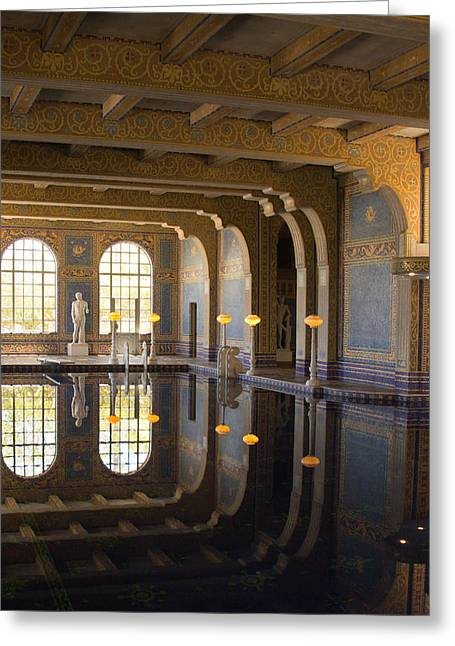 California Ocean Photography Greeting Cards - Hearst Castle Roman Pool Reflection Greeting Card by Heidi Smith