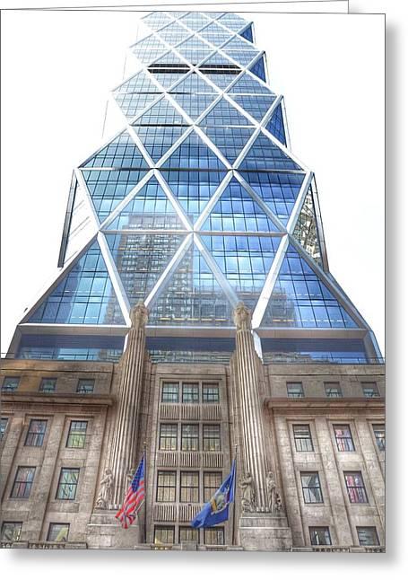 Triangular Greeting Cards - Hearst Tower - Manhattan - New York City Greeting Card by Marianna Mills