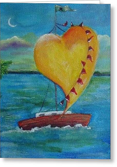 Recently Sold -  - Sailboats In Water Greeting Cards - Heart across the Harbor Greeting Card by Maria Milazzo