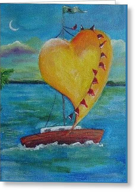 Best Sellers -  - Sailboats In Harbor Greeting Cards - Heart across the Harbor Greeting Card by Maria Milazzo