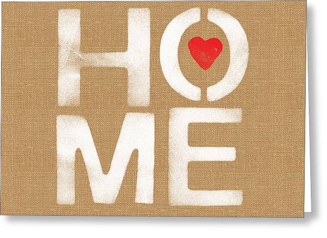 Stencil Art Greeting Cards - Heart and Home Greeting Card by Linda Woods