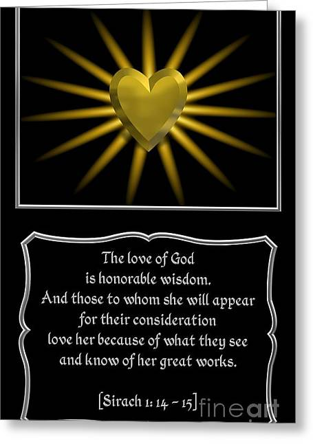 Moral Greeting Cards - Heart and Love Design 12 with Bible Quote Greeting Card by Rose Santuci-Sofranko