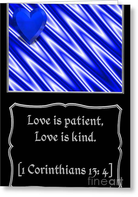 Moral Greeting Cards - Heart and Love Design 13 with Bible Quote Greeting Card by Rose Santuci-Sofranko