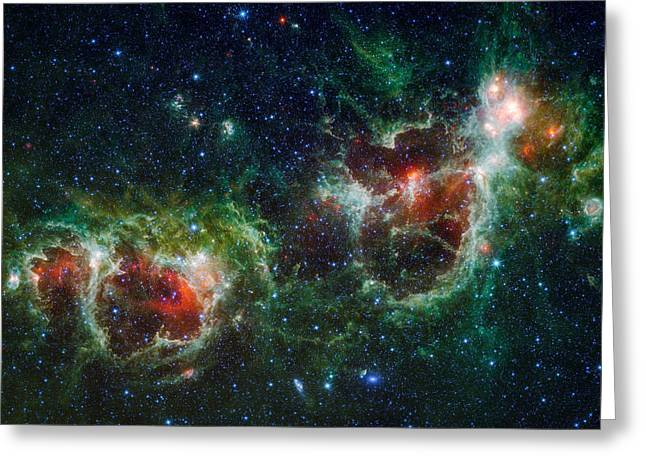 Hubble Greeting Cards - Heart and Soul Nebula as seen by WISE Greeting Card by Space Art Pictures
