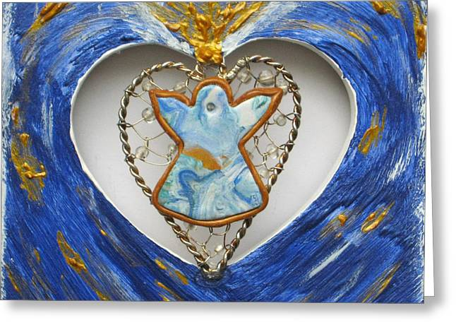 Color Reliefs Greeting Cards - Heart Angel sparkling Greeting Card by Heidi Sieber