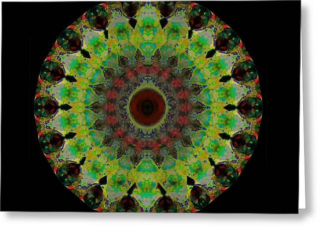 Chanting Greeting Cards - Heart Aura - Mandala Art By Sharon Cummings Greeting Card by Sharon Cummings