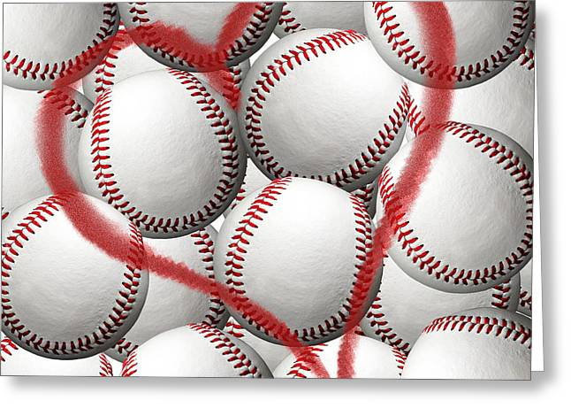 Baseball Art Photographs Greeting Cards - Heart Baseballs Greeting Card by Andee Design