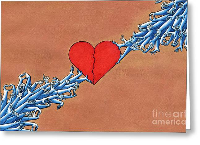 Broken Heart Drawings Greeting Cards - Heart Bond Greeting Card by Vittorio Abanilla