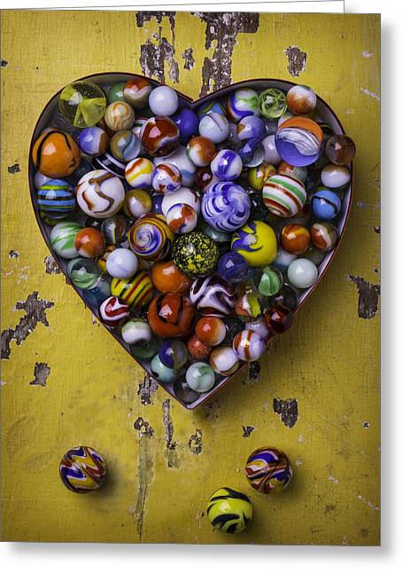 Old Objects Greeting Cards - Heart Box Full Of Marbles Greeting Card by Garry Gay