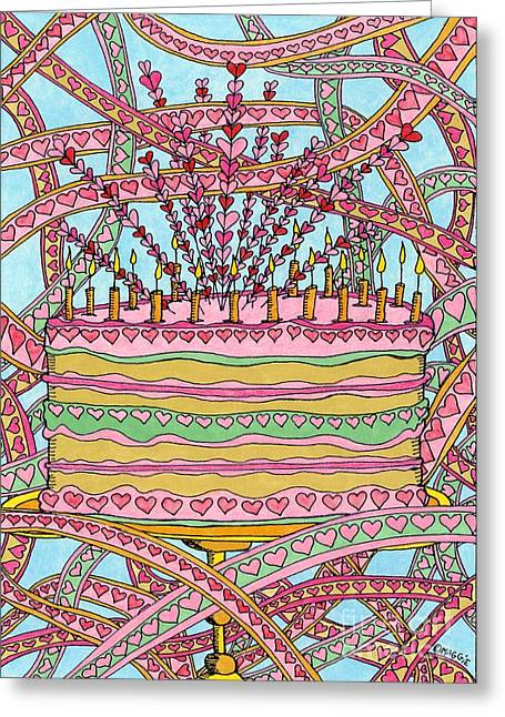 Culinary Drawings Greeting Cards - Heart Cake - Revisited Greeting Card by Mag Pringle Gire