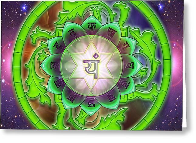 Anahata Greeting Cards - Heart Chakra Anahata  Greeting Card by Mynzah Osiris