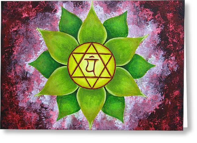 Anahata Greeting Cards - Heart Chakra Greeting Card by Steven Eynon