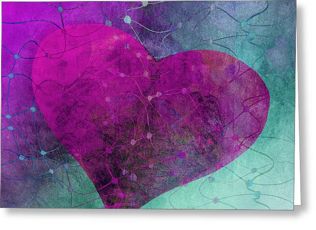 Pink Heart Greeting Cards - Heart Connections Two Greeting Card by Ann Powell